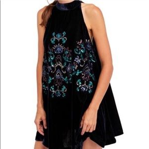 Free People Jill's Sequin Swing dress velvet